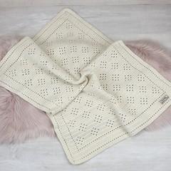 Baby Blanket Pure Australian Alpaca Wool - Handmade Crochet