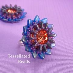 Lotus Ring - Winter Sunset flower ring.  Bead stitch work.