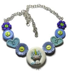 Girls blue unicorn necklace,