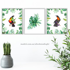 Vintage Tropical Birds Greenery DIY Printables