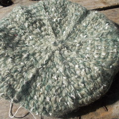 crocheted beret made from acrylic and bamboo yarns