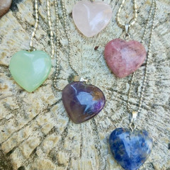 Simple & comforting organic heart gemstone necklaces.