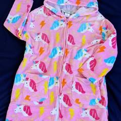 Girls Pink Unicorn SWIM ROBE with WATERPROOF back Size 3
