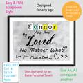 Custom Name, personalised instant download, Grey Printable Poster, Bedroom