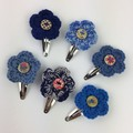 6 Shades of Blue Crocheted Flower Hair Clips | Hand Crochet | Free Postage