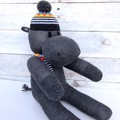 'Hector' the Sock Hippo - dark grey with colourful hat & scarf - *READY TO POST*