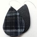Plaid/Tartan, Genuine Leather, Teardrop Earrings, Black/Blue