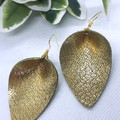 Pinched Petal, Genuine Leather Earrings, Gold/ Sage Green