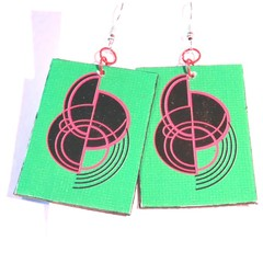 Earrings. Art Deco style Dangle Earring. Original design in green, red & black.