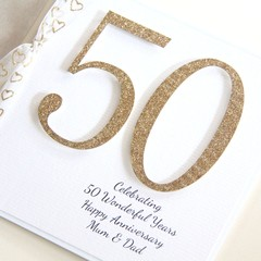 Anniversary Card For Any Year, Personalised, 20 25 30 35 40 50 60 70