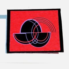 Brooch. Art Deco style brooch. Original design in bright red with black & purple