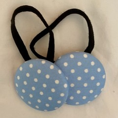 Button Hair Elastic Hair Tie Pack of 2  - Polka Dots Blue and White