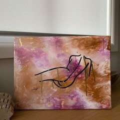 Abstract Pink & Gold Leaning Lady Acrylic Canvas