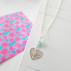 Morganite 925 Sterling Silver Heart Charm Necklace
