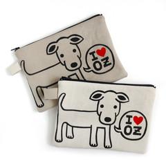 Handmade Zipper Pouch • Zip Bag - I love OZ Doggy 20x15