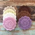 Crochet doily, brown and pastels, home decor, flatlay prop, appliqué