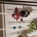 3 x Macrame Plant Pot Hangers, natural cream white with color beads.