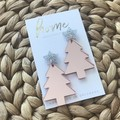 Rose Gold Silver Glitter Christmas Tree Star Earrings | Unique