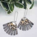 Fringed Fan, Genuine Leather Earrings, Bronze Leopard