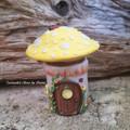 Little Tooth Fairy Mushroom house Trinket Jar - Yellow