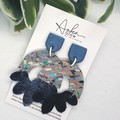 Genuine Leather/ Clay Earrings, Blue/ Multi Colour