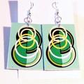 Earrings. Dangle style. Art Deco. Original design in pale green, white & black.