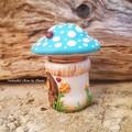 Little Tooth Fairy Mushroom house Trinket Jar - Blue