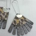 Fringed Fan, Genuine Leather Earrings, Bronze Leopard