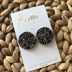 Recycled Black Glitter Stud Earring   Mother's Day   Unique