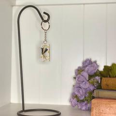 Navy bell flower rectangle keychain - resin