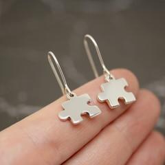 Jigsaw Earrings - Handmade Sterling Silver Puzzle Earrings by Purplefish Designs