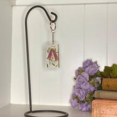 Fuchsia flower rectangle keychain - resin