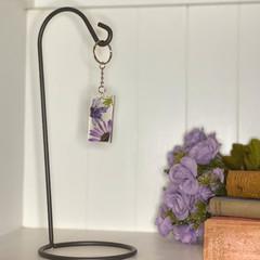 Purple flower rectangle keychain - resin