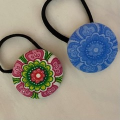 Button Hair Elastic Hair Tie Pack of 2 - Paisley Print Flowers Blue and Pink