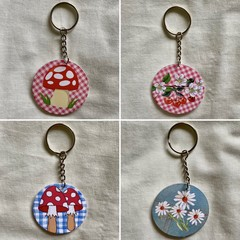 Key Ring, Key Chain or Handbag Pendant - Choice of 4 Designs
