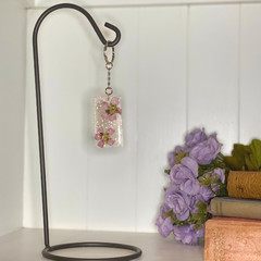 Pastel pink flower rectangle keychain - resin