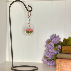 Bright pink flower petal square keychain - resin