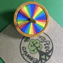 Rainbow Spinning Top with Gold and Silver Decorations