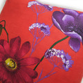 Flowers on Red Linen Cushion Cover