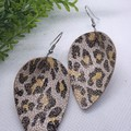 Pinched Petal, Genuine Leather Earrings, Beige/Pink Leopard, Hypoallergenic