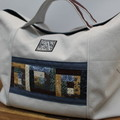 Handbag Everyday Shopping Tote Project Canvas Cotton Log Cabin Patchwork Border