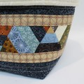 Quilted Patchwork Fabric Basket Bag Pouch Organiser Pod