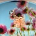 Baby pink flower keychain - resin