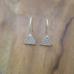 Recycled Silver Geometric Triangular Earrings
