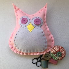 PINK OWL with TUMMY SEWING KIT - WOOL Stuffing included