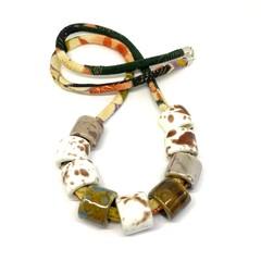 Speckled Egg Ceramic Beads on Kimo Cord - Camel