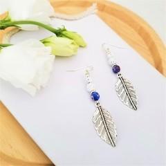 Tribal Blue Rhinestone Leaf Charm Earrings