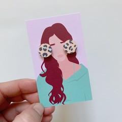 Peachy Leopard Print Studs