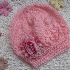 Hand-knitted baby grl's beanie; fits 3 - 6 mths; 4-ply Australian wool