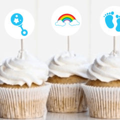 Cake toppers,  Baby Shower, Cupcakes, Gender Reveal